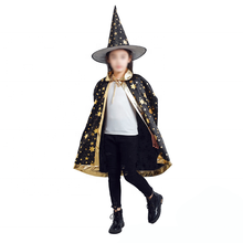 Black Witch Wizard Cloak Cape set for Kids Children Boys Girls Halloween Costumes  accessories
