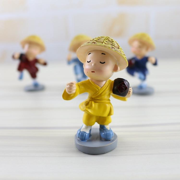 Creative car ornaments jewelry crafts home gifts jar straw hat monk ornaments resin crafts set