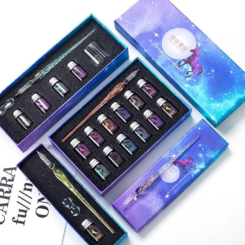 Promotional Smooth Writing Gift Crystal Glass Colourful ink Pen