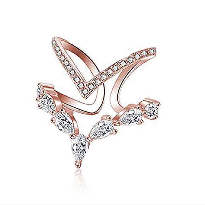 18 k Oro Rosa Cubic Zirconia Anello CZ V Anello Aperto Regolabile Del Cuore Della Principessa Anello per Le Donne SWAROVSKI