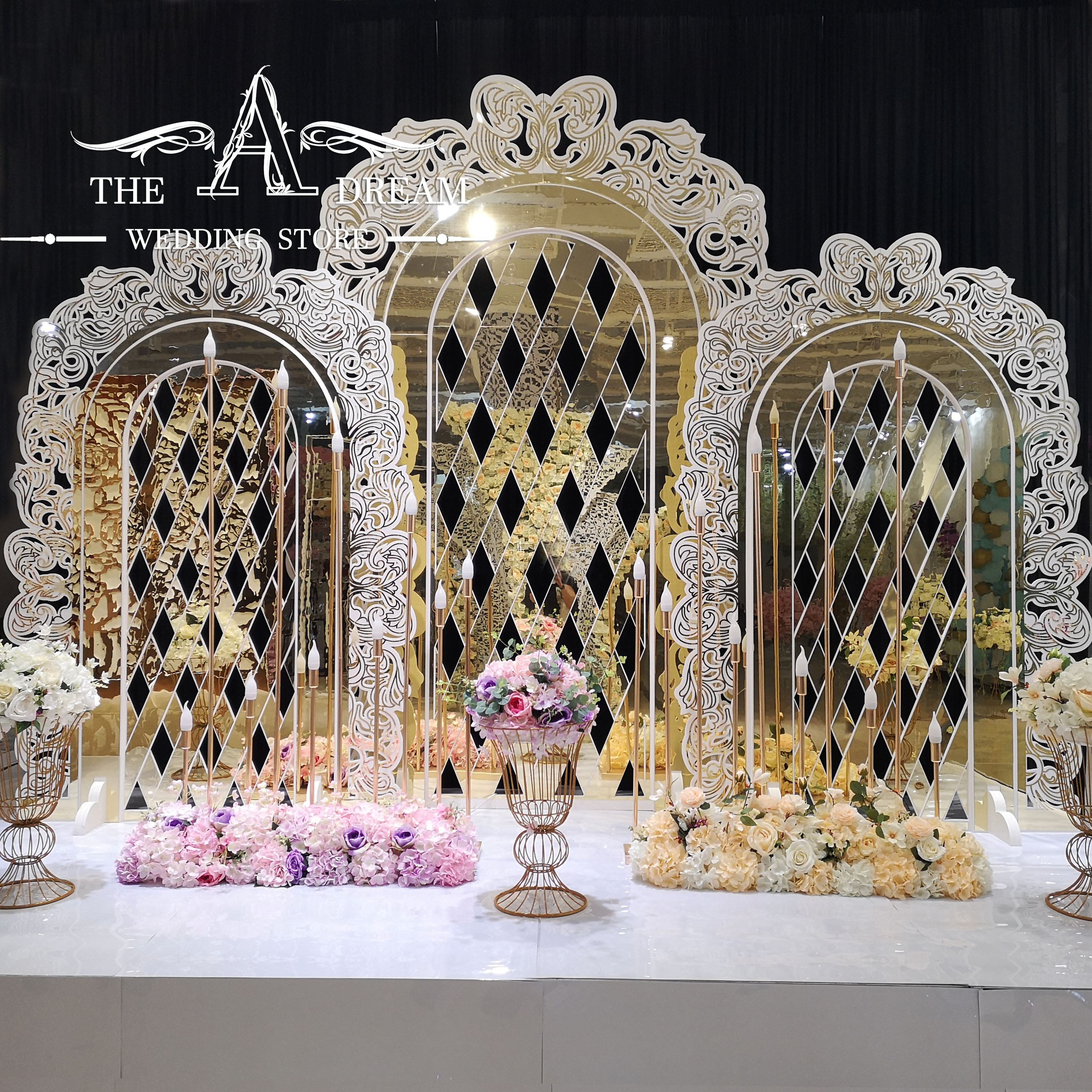 Luxury Wedding Backdrop New Design Rose Removable Decor Panels Golden Wedding Decoration From The A Dream Wedding Store