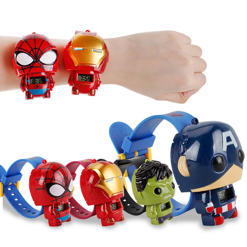 Cartoon Unisex cheap child watch kids fancy watches marvel heroes deformable digital watch for kids