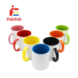 11oz sublimation mug with colorful inside and handle three tone sublimation photo mug