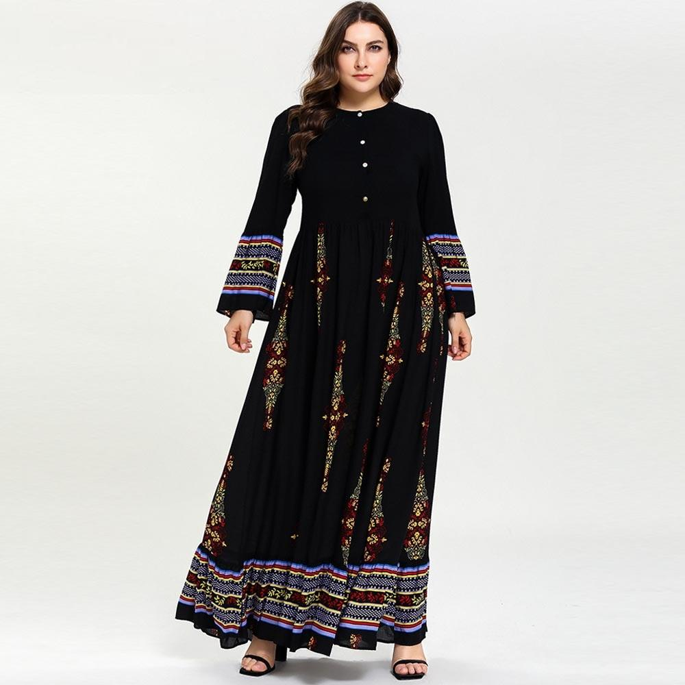 Plus Size Muslimah Clothing Islamic Kaftan Abaya 2019 Women Long Muslim Dress Muslim Clothing