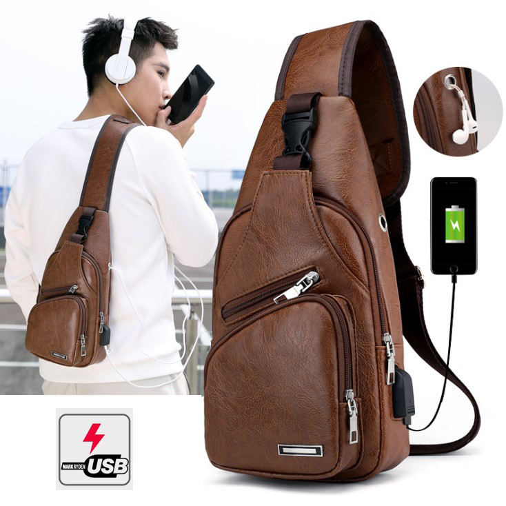 Men's Chest Bag Leather Chest Pack USB Backbag With Headphone Hole Functional Travel Organizer Male Bag Crossbody Sling Bag