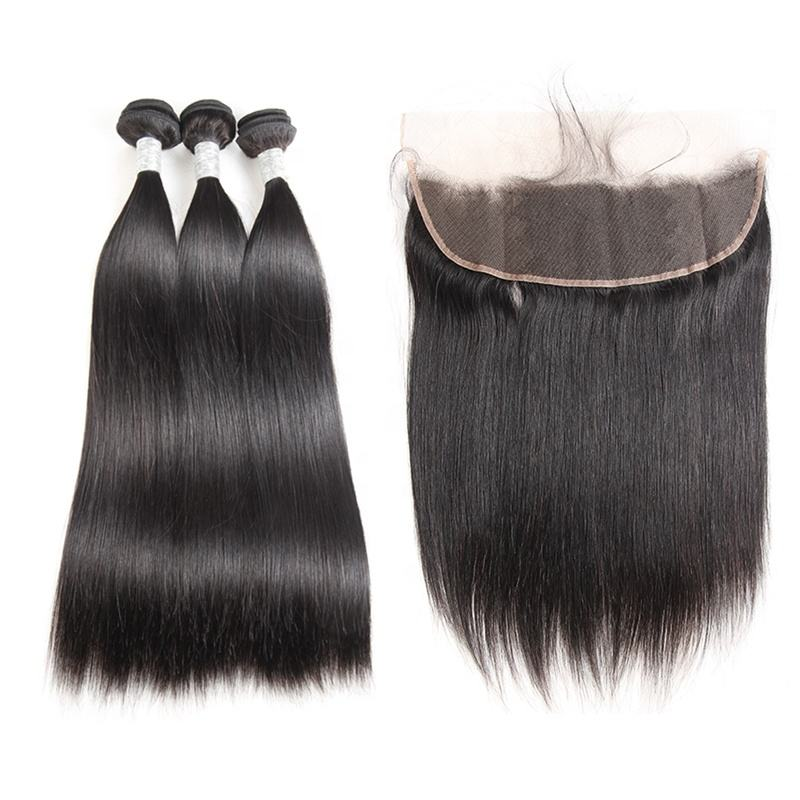 Best Selling Human Hair Bundles With Lace Frontal Closure Indian Virgin Hair Straight
