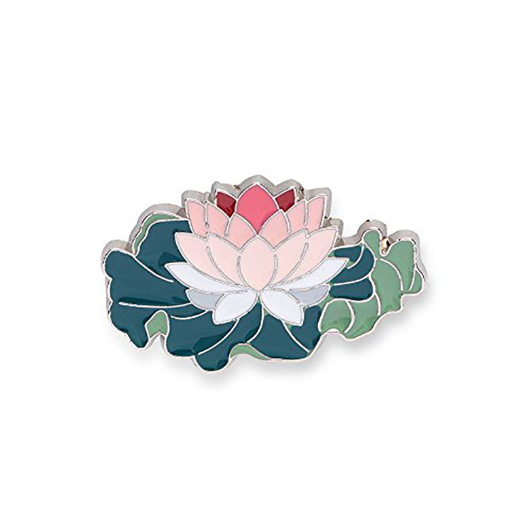 custom lotus flower metal lapel pin for enamel crafts