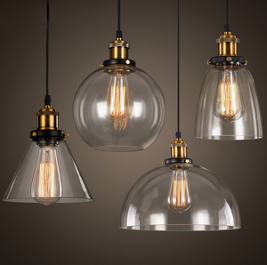 clear amber american industrial style retro round glass pendant light