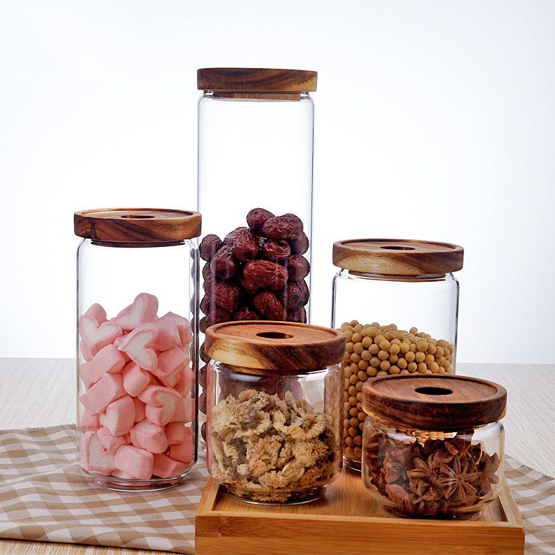 Safety sealed rice food honey glass storage jar with wood lid