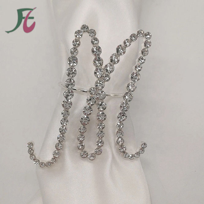Arrival Popular Letter M Crystal Diamond Napkin Ring for Weddings