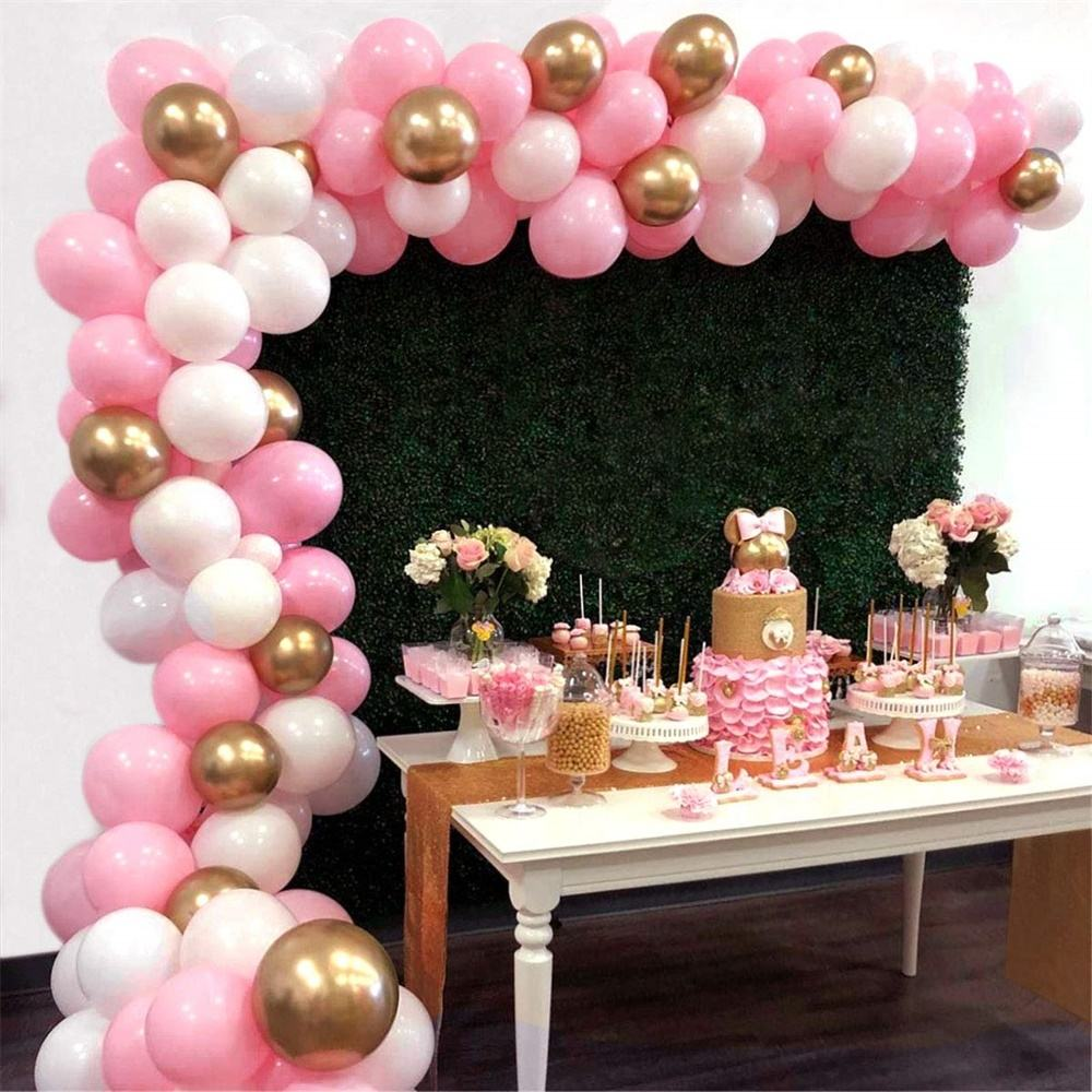 112pcs Pink White Gold Balloons Pack