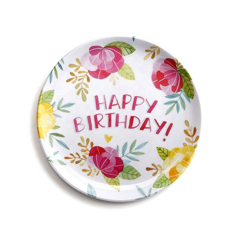 OEM anniversaire mélamine donnant plaque fleur mélamine plaques chine articles ménagers sur mesure dîner plaque peinte