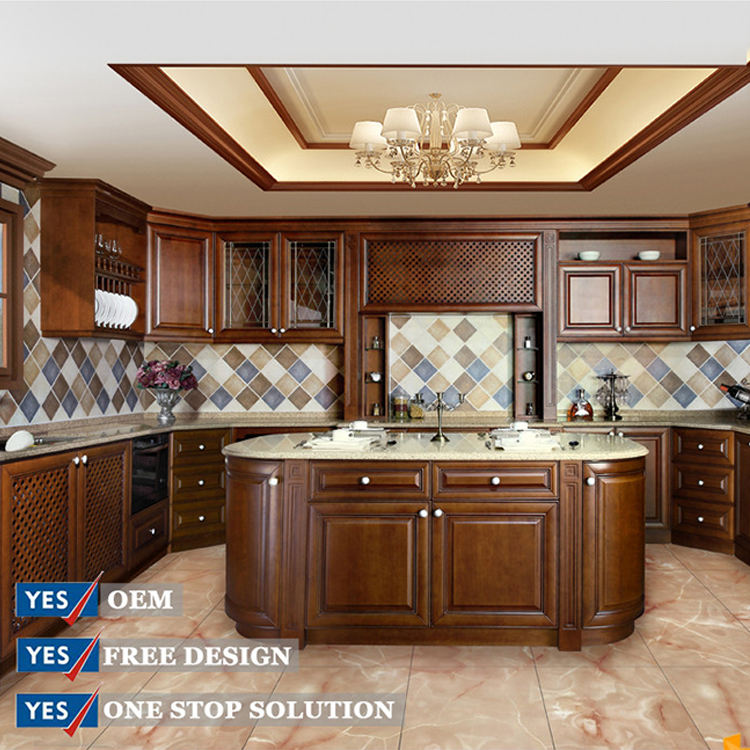 American style home furniture kitchen cabinet solid wood door
