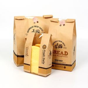 Factory Manufacturer Bakery Food Printed Brown Kraft Bread Packaging Paper Bags With Plastic Window