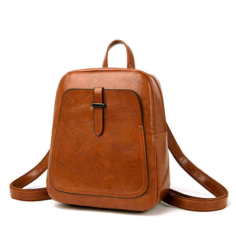 2019 High Quality Top Selling Smooth PU Leather Backpack 2-way Korean School Bag Daypack