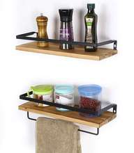 Rustic Wood Floating Shelves Wall Mounted Storage Shelves for Kitchen Bathroom Set of 2 Carbonized Black farmhouse home decor
