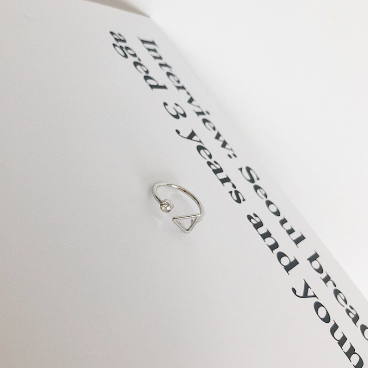 open adjustable triangle ring silver bamboo band thumb minimalist gift ring stackable midi everyday dainty cute simple ring