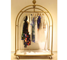 Portable ladies clothes Metal Gold Hanging Clothing Sample Display Rack