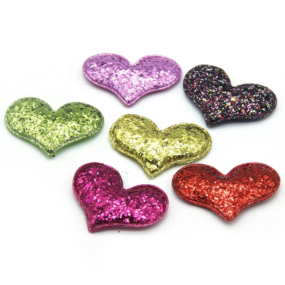 3D Custom Chunky Glitter Heart Embroidery Patch For Hair Decor 16707