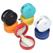 Wholesale fashion portable travel case organizer round leather jewelry storage box