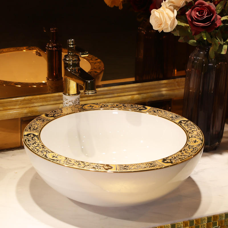 Made in jingdezhen artistic european excellent quality bowl porcelain ceramic wash basins gold with white bathroom sink round
