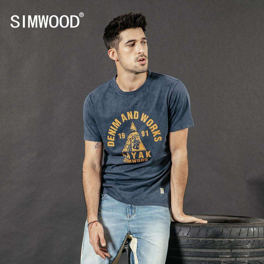 SIMWOOD 2020 summer 100% cotton t-shirt men snow wash vintage tops fashion tees plus size top letter print tshirt 190253