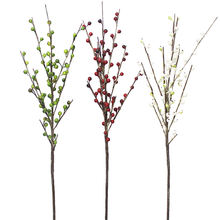 Newest manufacture highend quality realistic home garden red berry branch artificial berry stem christmas decoration branches