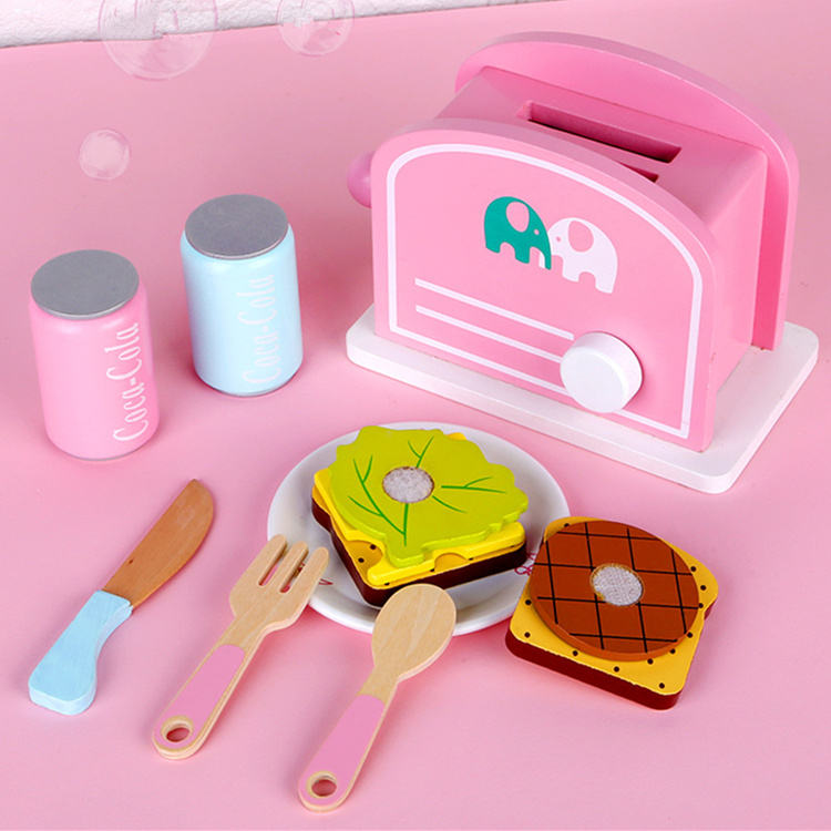 Wooden Cooking Toaster Bread maker pretend kitchen play toys