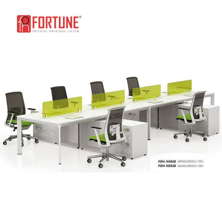 Modern fashion white office partition 8 seater workstation table desk
