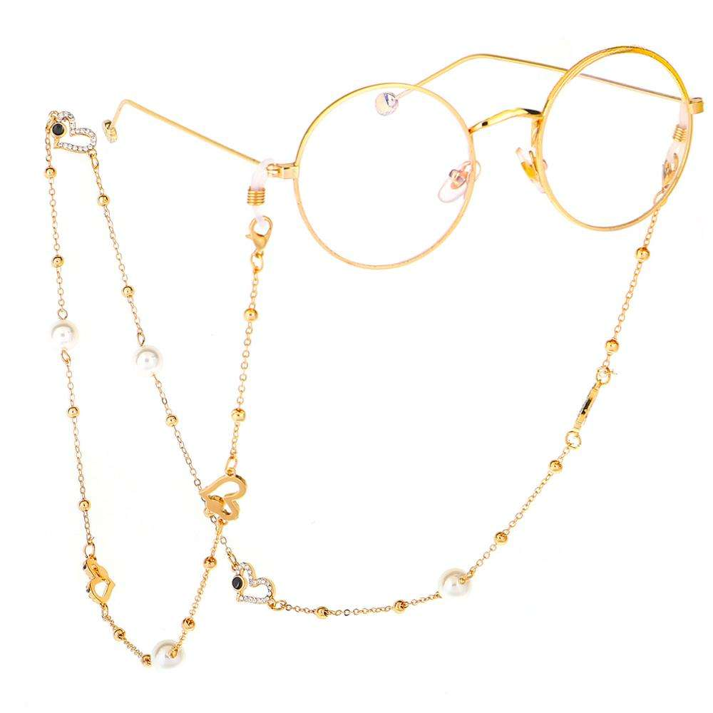 The latest fashion sweater chain gold pearl heart diamond glasses chain eyeglasses chain