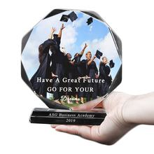 Customized Octagon K9 Crystal Photo Frame For University Graduation Gift