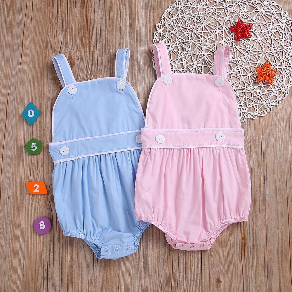 wholesale baby bubble romper solid sleeveless bubble romper boutique cotton summer girls clothes romper
