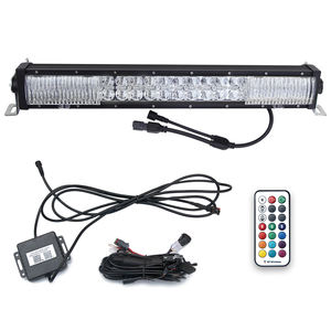 Offroad Led Muziek Lamp Bar Rgb Hoek Eye 6000K Auto Spot Combo Flood Beam Afstandsbediening Geel Amber Led strobe Light Bar