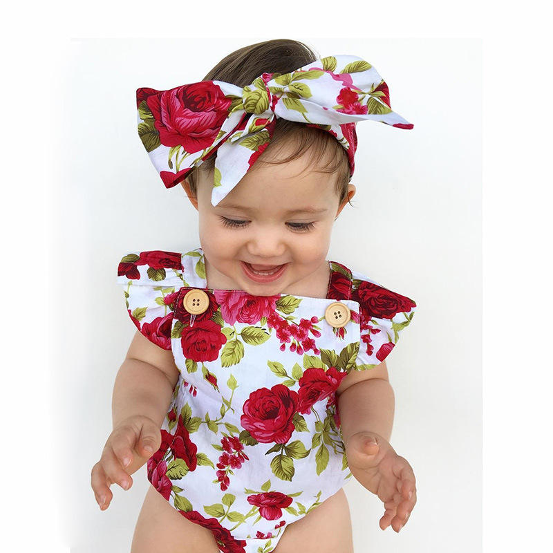 INS Hot Selling Birthday Wear For Kids Pink Ruffled Baby Romper Set