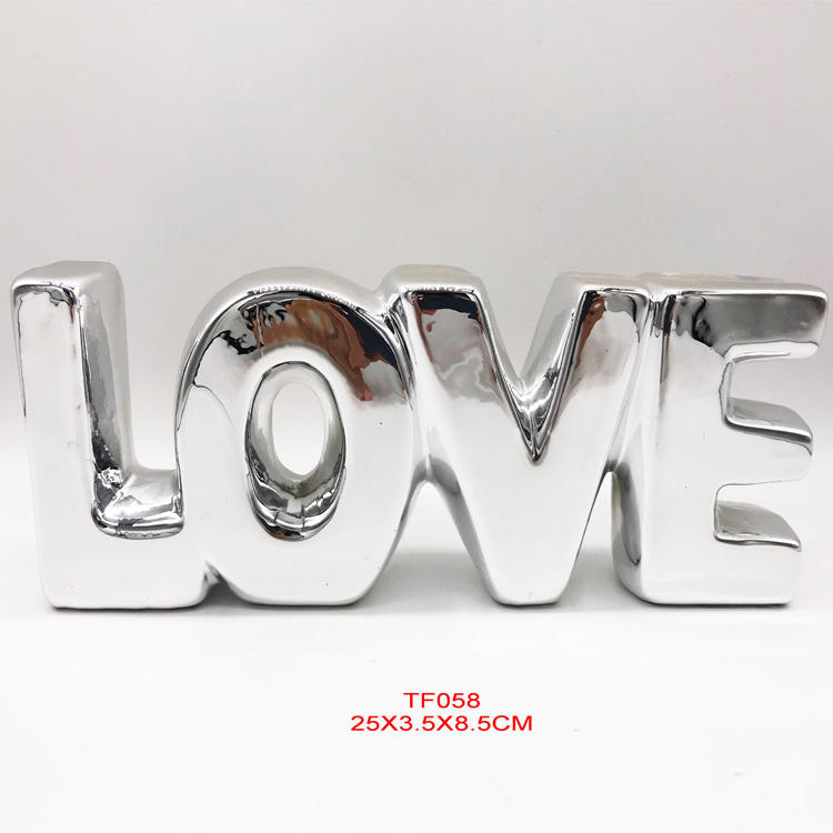 Valentine decorative Stylish ceramic electric plating golden Letter Love word for home hotel decoration jewelry trinket decor