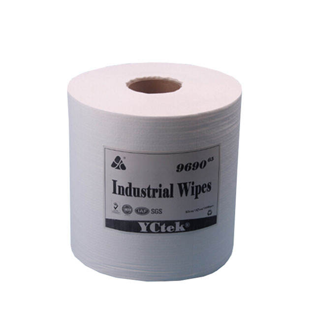 Spunlace Breathable Plain White Cellulose And Polyester Nonwoven Fabric Industry Wiper
