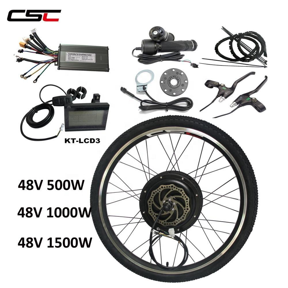 Free Shipping 48V 1500W Electric Bicycle Motor Ebike conversion kit LCD 20