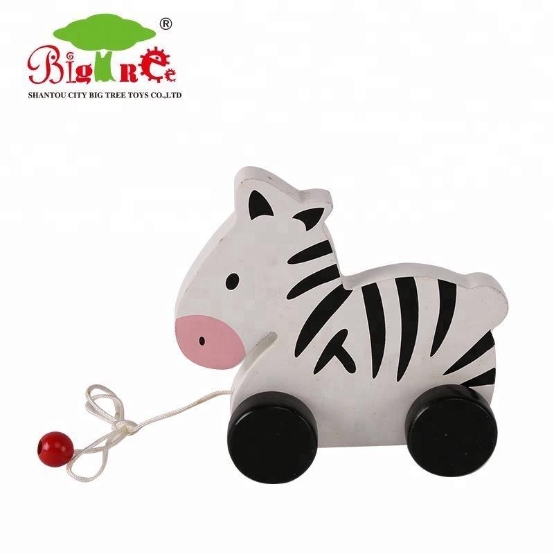 Vuelos baratos de china de cebra de madera tire de juguete para los niños