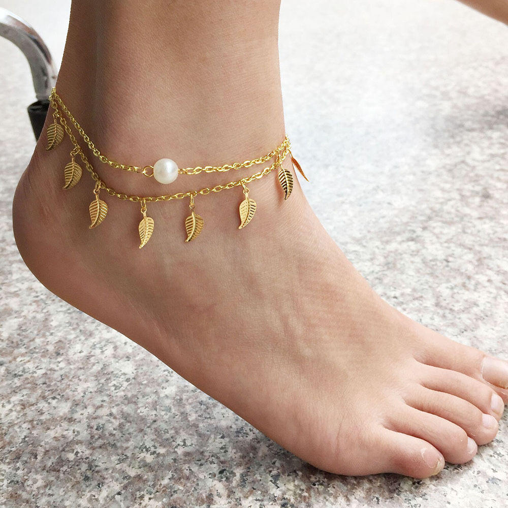 Femtindo Women Anklet with Leaves and Pearl Decorate Two Layers Bracelets Anklets