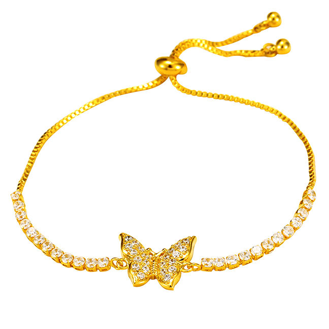 AB922401 xuping 24k color cz butterfly bracelet bangle bracelet women, adjustable women bracelet