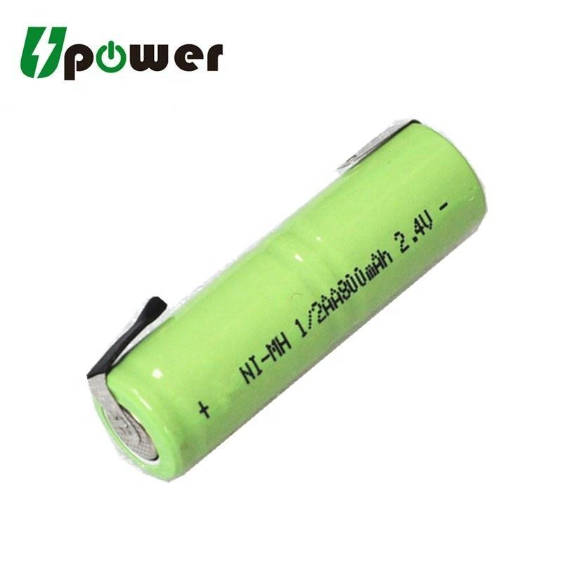 Ni-MH 2.4V 1/2AA 800mAh Battery Rechargeable 1/2 aa Size NIMH Battery with Solder Pins