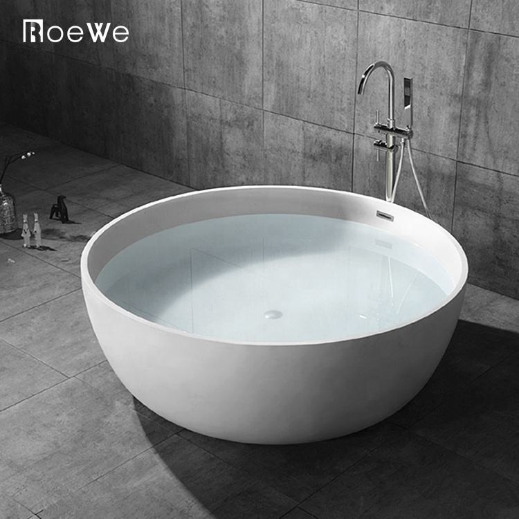 hotel bathroom cast solid surface bath tub, round freestanding composite stone resin artificial marble bathtub