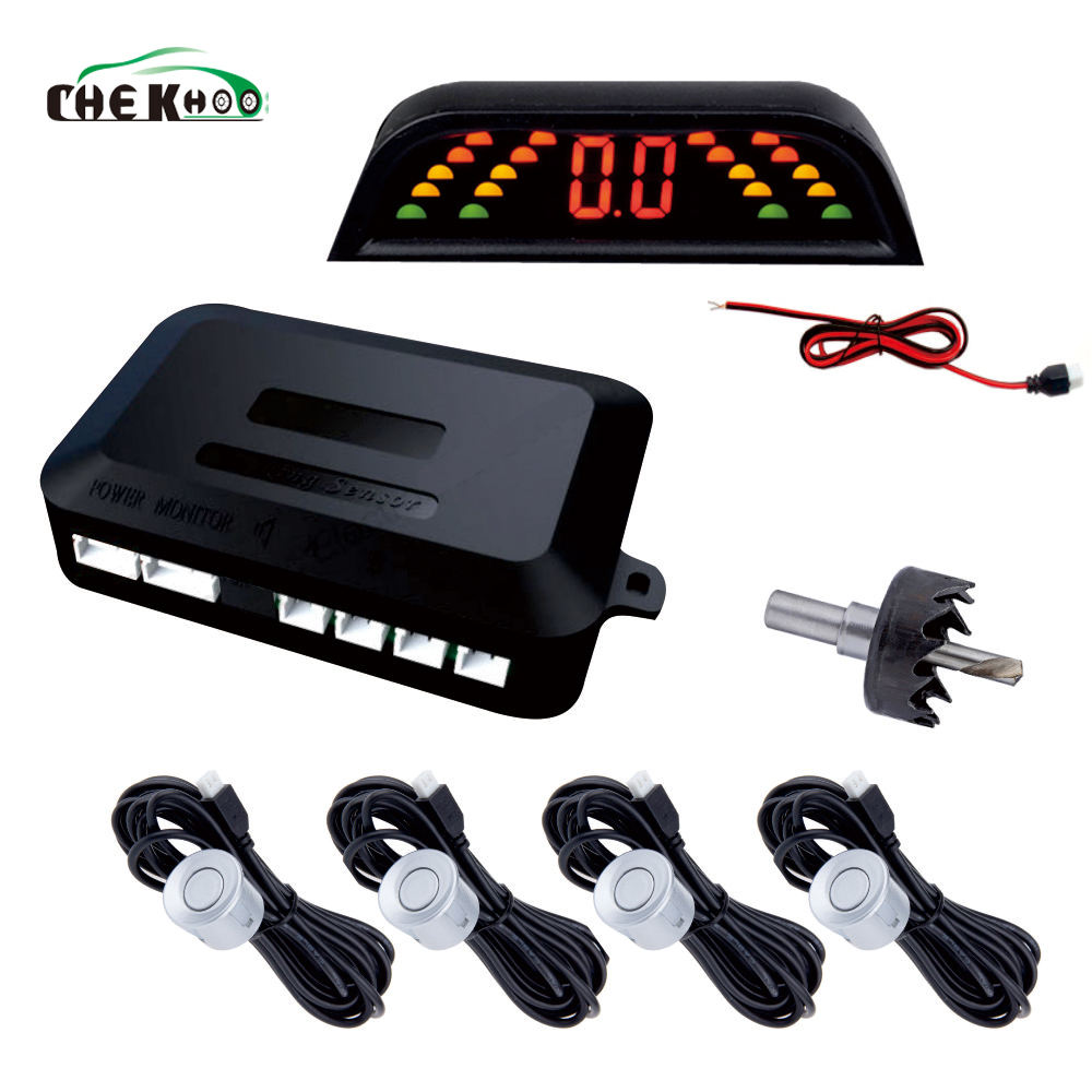 cheap price car parking sensor with 4 sensors led display parktronic radar detector alarm system backup rearview system