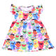 2019 Yiwu supplier kids apparel bright color cartoon printed dress for toddler O-neck milk silk frocks flutter baby dresses