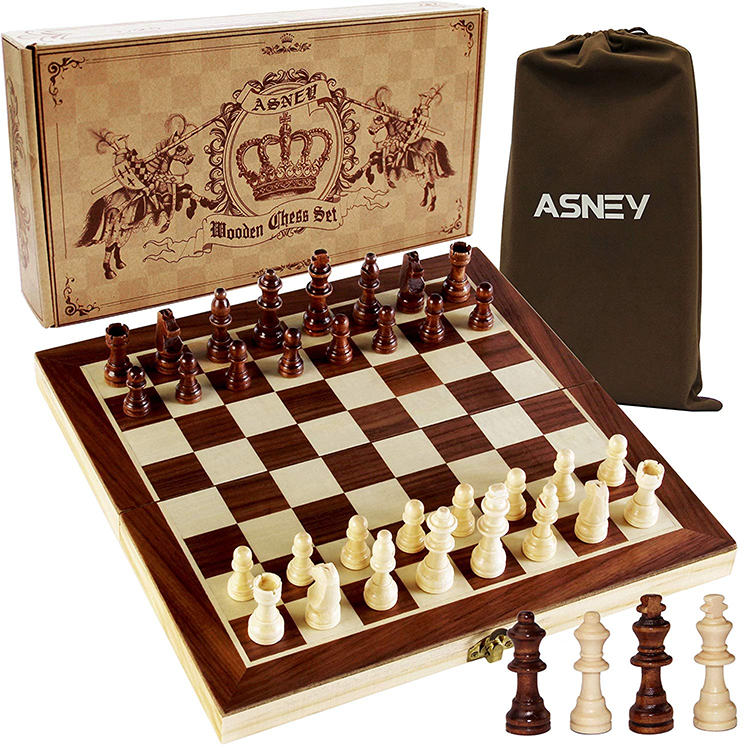 Custom antique engraved high quality wood backgammon checker chess piece set with chess table for adult and kids game