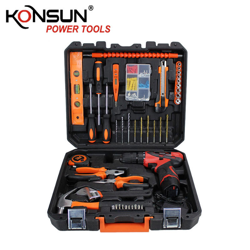Konsun kx85226 hot sell 44 pcs 12v cordless drill set electrical tool kit