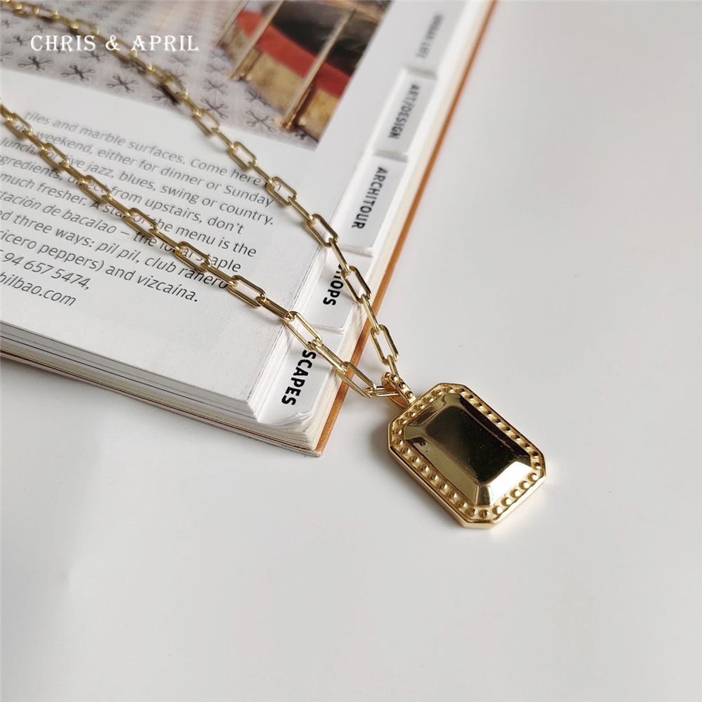 18K gold plated square mirror pendant necklaces