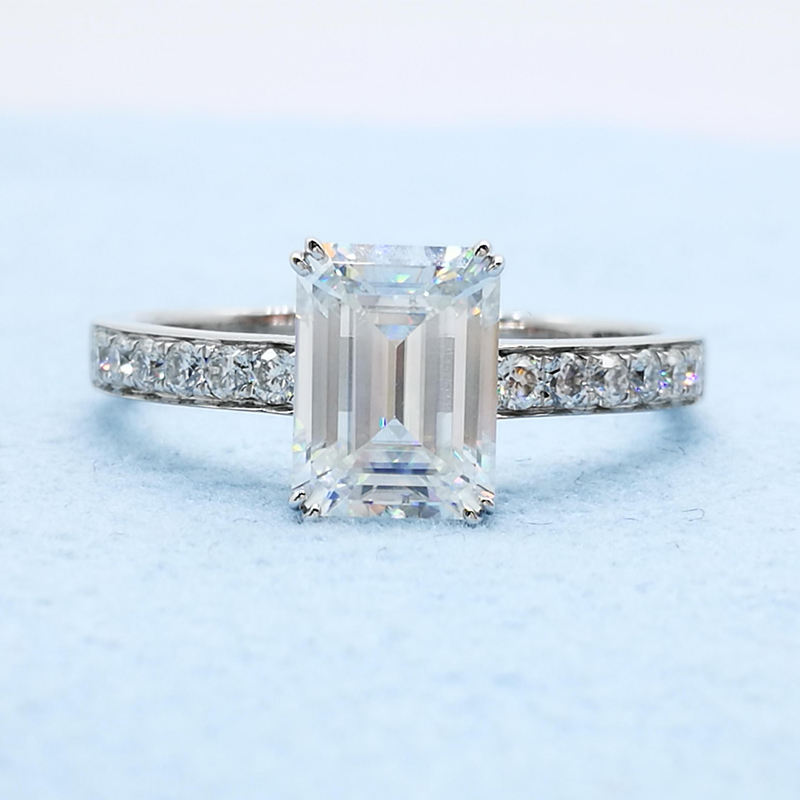 New product 8x10mm 3carat DEF color white emerald cut moissanite wedding ring with half melee moissanite paved on band