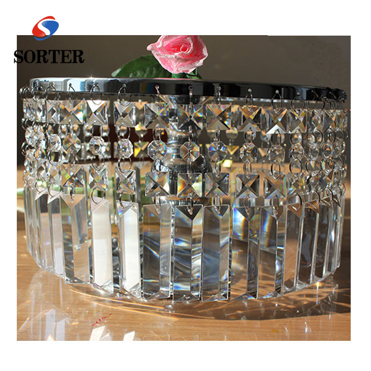 high quality cake stands with hanging crystal bead for wedding