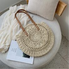 2019 Women Large Summer Round Handmade Custom Moroccan Paper Sea Beach Straw Bag